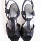 Sorte sandaler med trehel